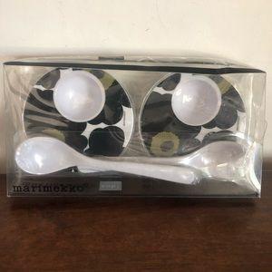 MARIMEKKO egg cup & spoon set, pair, NEW IN BOX